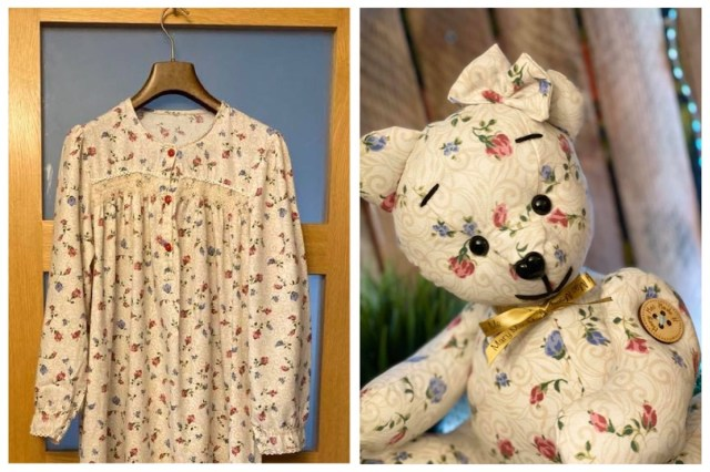 Memory bear created from a woman's nightgown