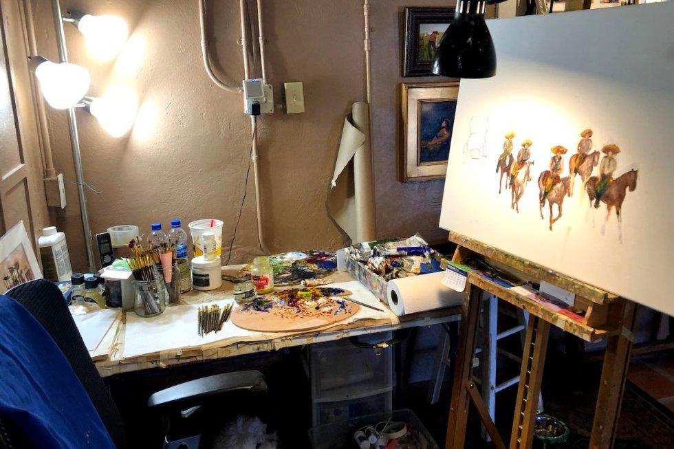 Alberto Escamilla's working equipment inside Escamilla Fine Art Gallery & Studio