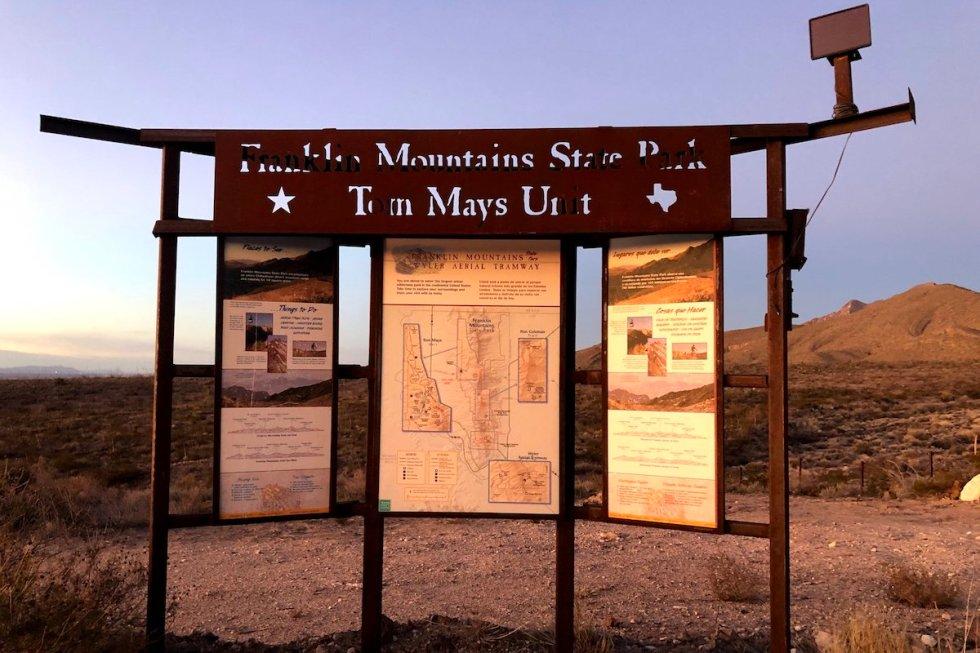 Franklin Mountains State Park information sign
