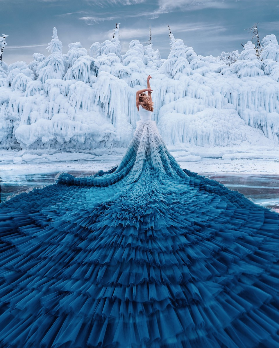 Woman wearing a long skirt photographed by Kristina Makeeva in Lake Baikal, Russia