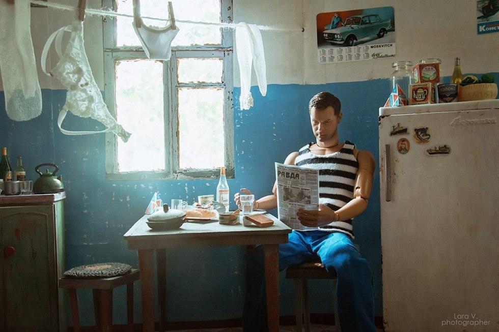 Ken reading the Pravda newspaper