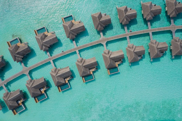Aerial photo of Over Water Family Pool Villas