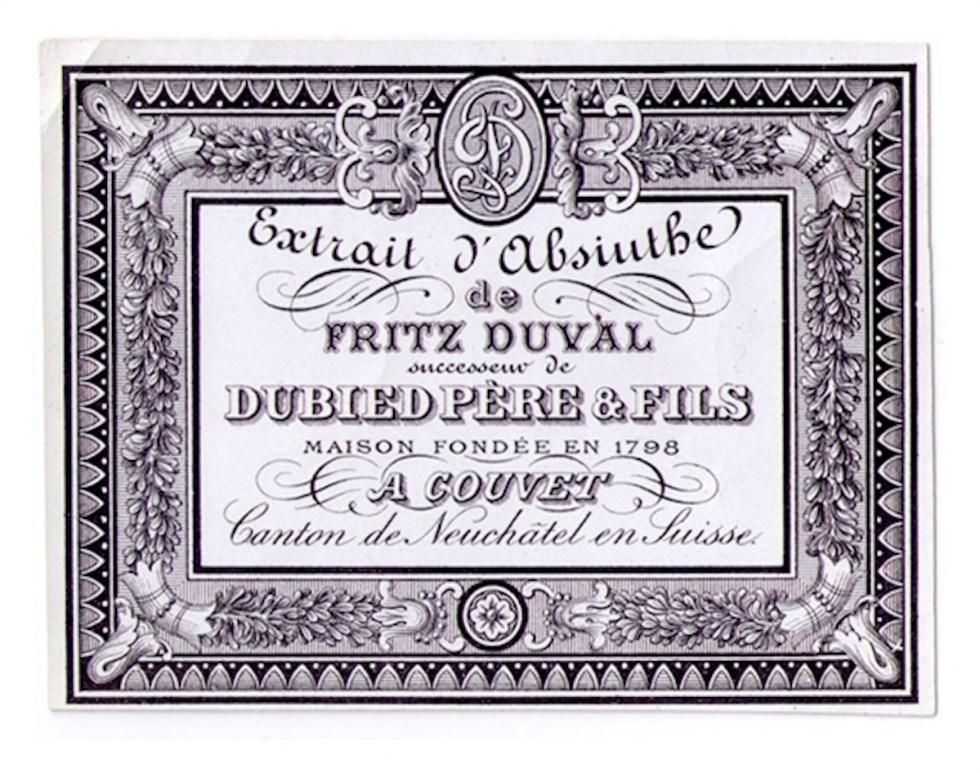 Antique Dubied Père & Fils Absinthe Bottle Label