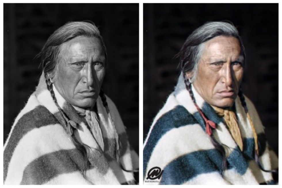 Marina Amaral's colorization of an indigenous man's photo taken originally by Harry Pollard
