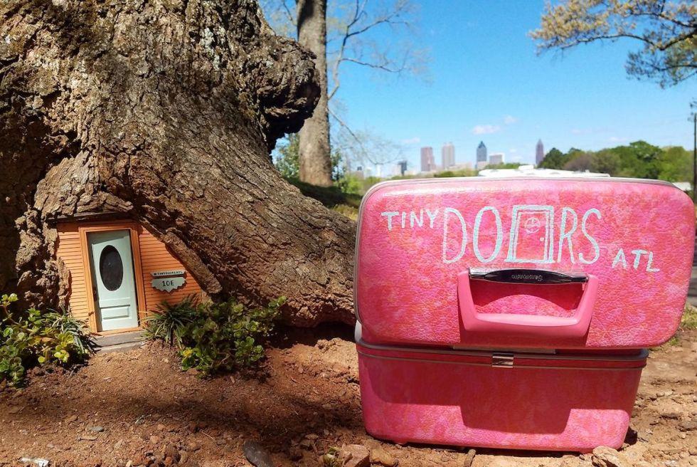 Door #10E: Grant Park Tree Door, part of Tiny Doors ATL project