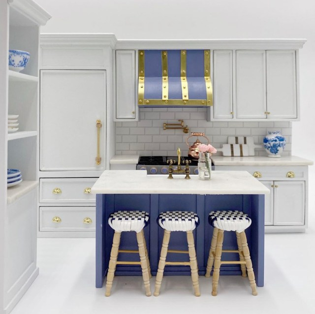 A kitchen made for Caitlin Wilson's dollhouse replica of her Dallas home