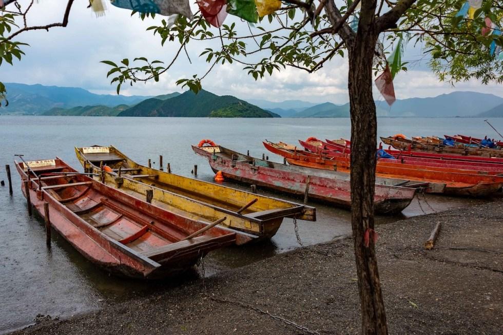 Boats at Lake Lugu in Yunnan, China
