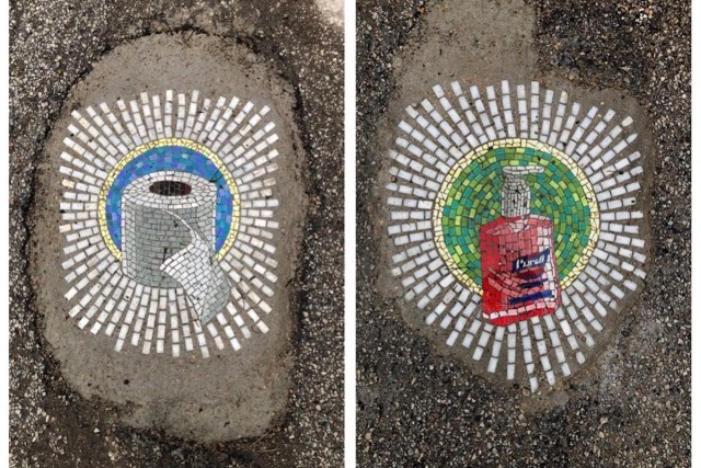 Coronavirus-related pothole art by Jim Bachor in Uptown, Chicago
