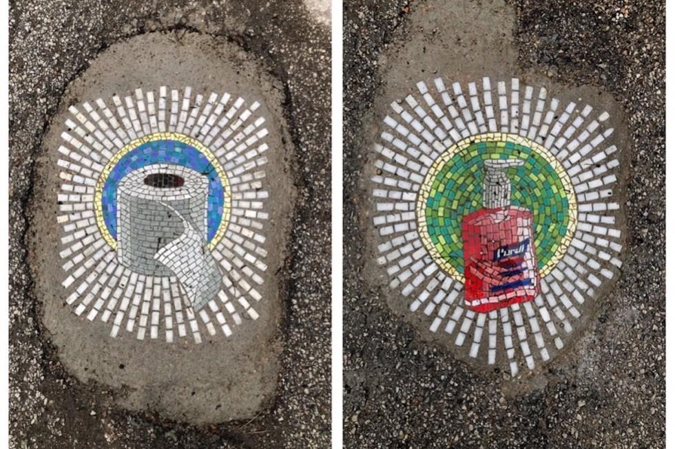 Coronavirus-related pothole art by Jim Bachor in Uptown, Chicago