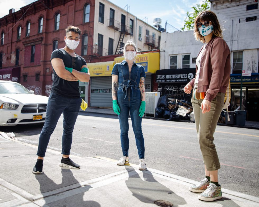 "artist Cameron Loeb and his friends wearing one-of-a-kind masks of the kind created for the ""Masks in the Wild"" project"