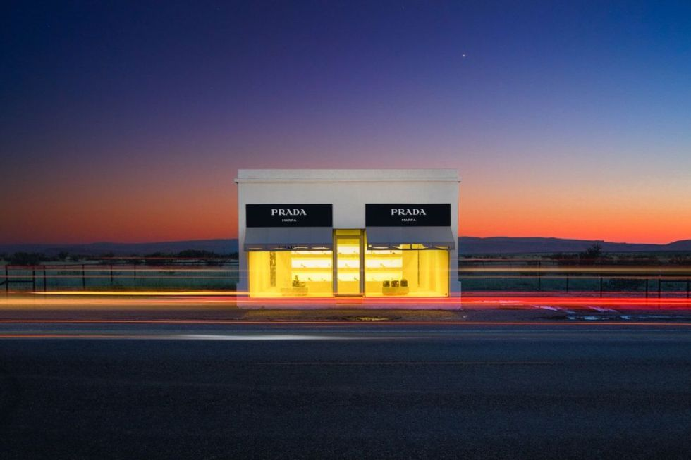 the Prada Marfa art installation, located 1.4 miles northwest of Valentine, Texas