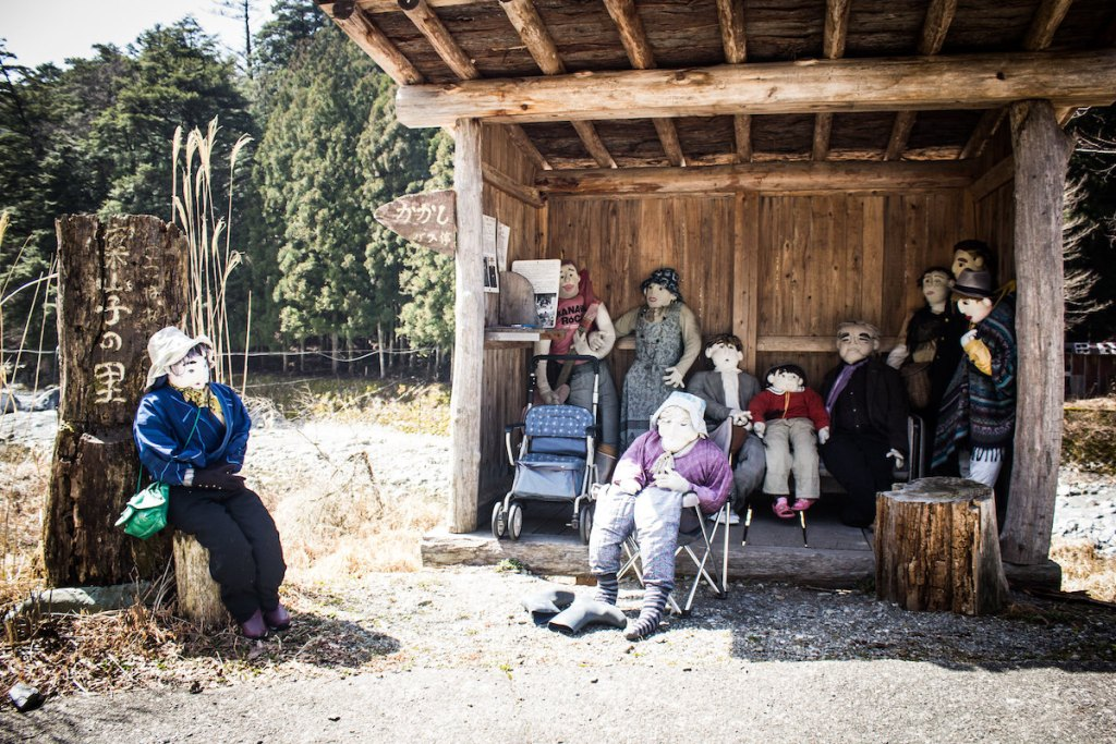 life-sized scarecrows in Nagoro, Japan