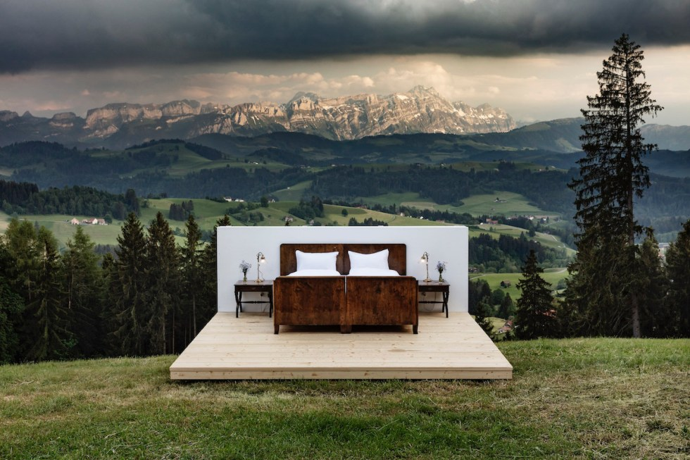 pop-up hotel room without walls or roof in Switzerland