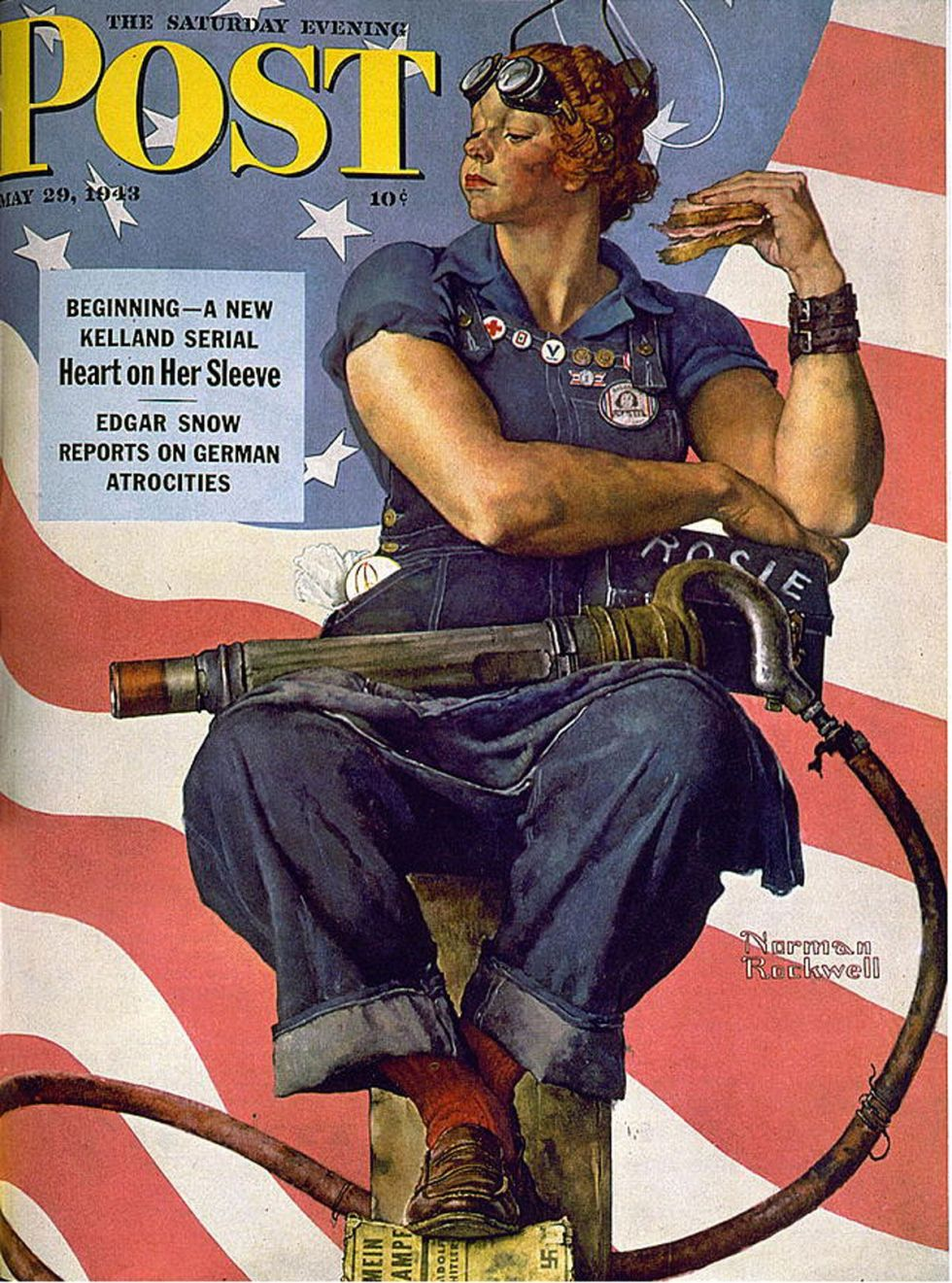 Norman Rockwell's 'The Saturday Evening Post' 1943 cover featuring Rosie the Riveter