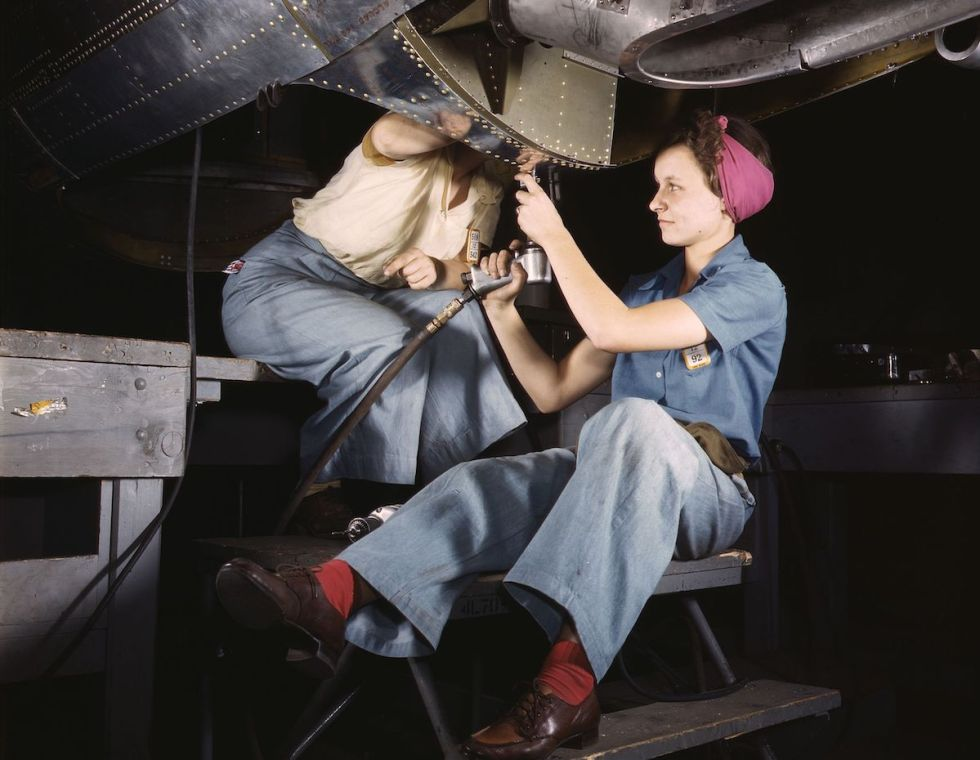 Women at work on bomber