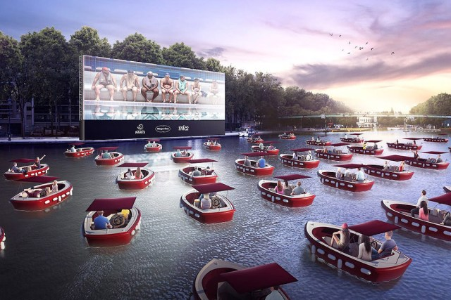 floating movie theater in Paris, France