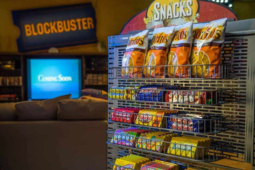 snacks provided inside the world's last Blockbuster store in Bend, Oregon