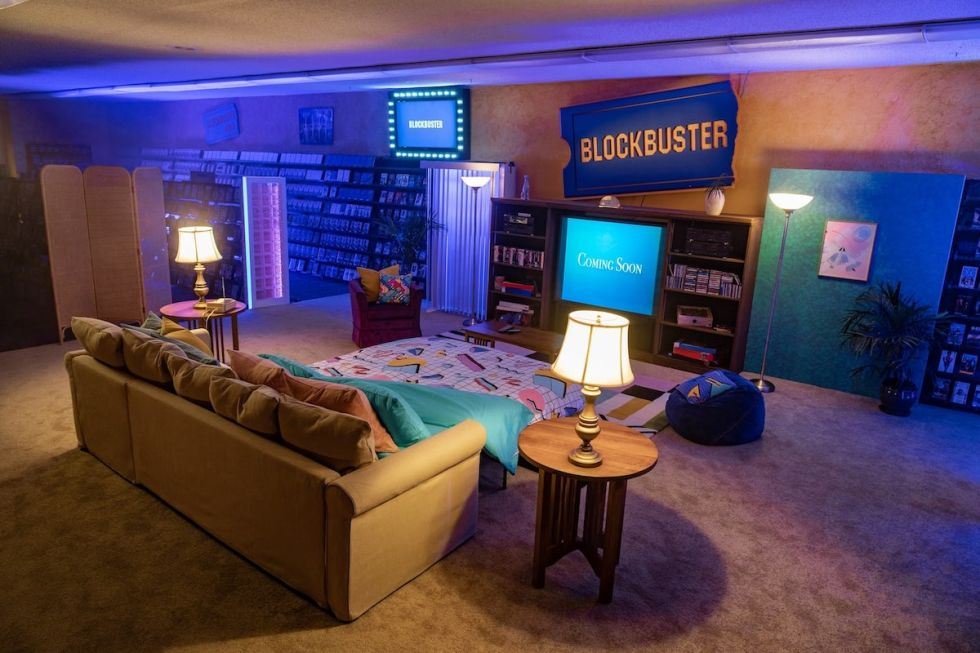 '90s themed living room set up inside the world's last Blockbuster store in Bend, Oregon