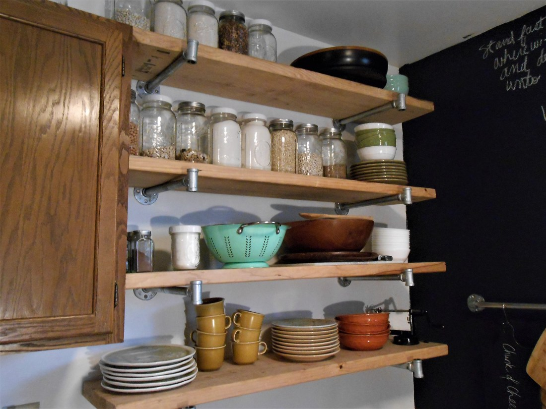 pipes, shelves, organization, jars, home decor