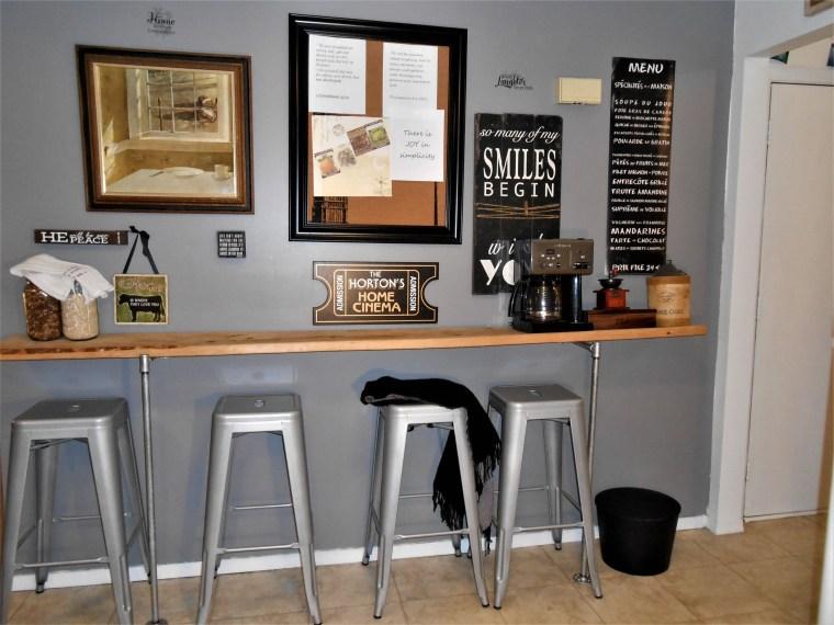 interior design, home decor, breakfast bar, kitchen, pipes, lumber, diy home decor