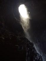 Breathtaking sea cave waterfall.