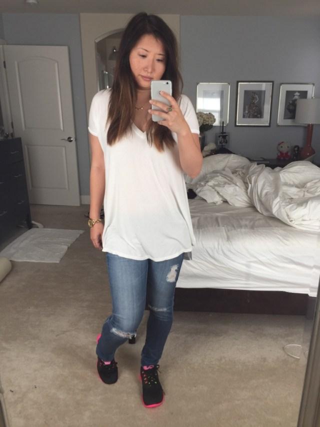 Breaking in clean shoes at home selfie.