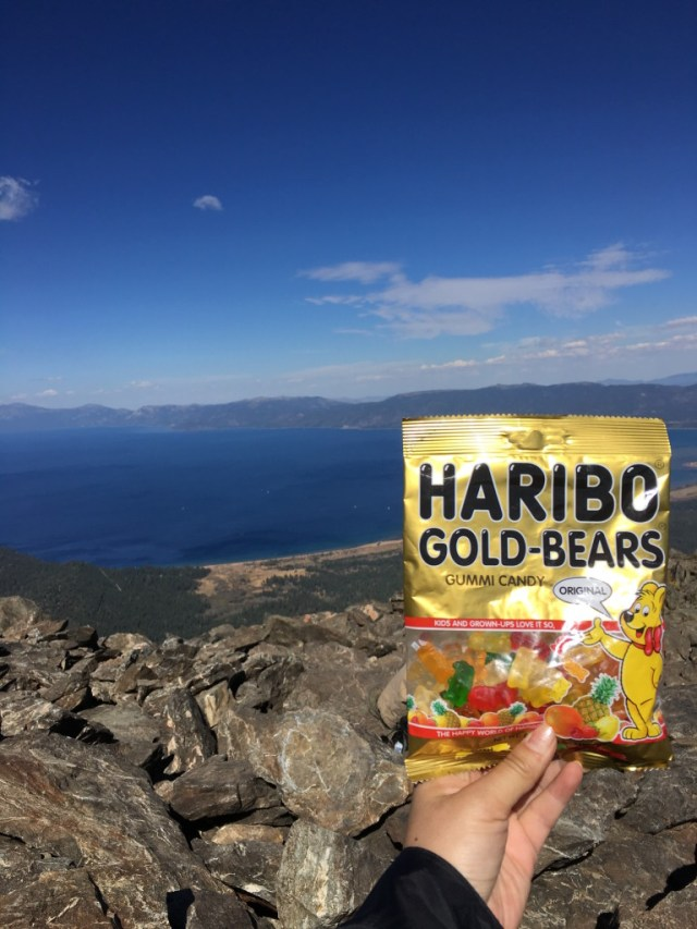Celebrating another epic hike with Haribo