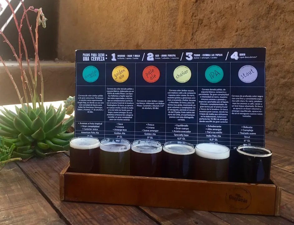 Beer flight in the Elqui Valley