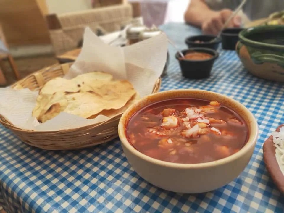 Pozole lunch with tortillas at Cabuche in Oaxaca for where to go in Mexico for foodies