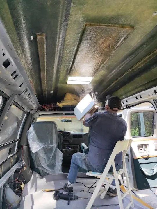 Cutting a hole in  our DIY van conversion