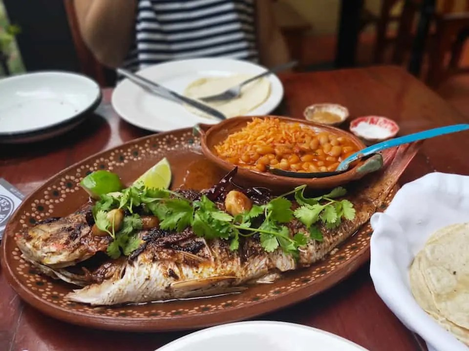Grilled whole fish served with garlic, fresh chilis and cilantro