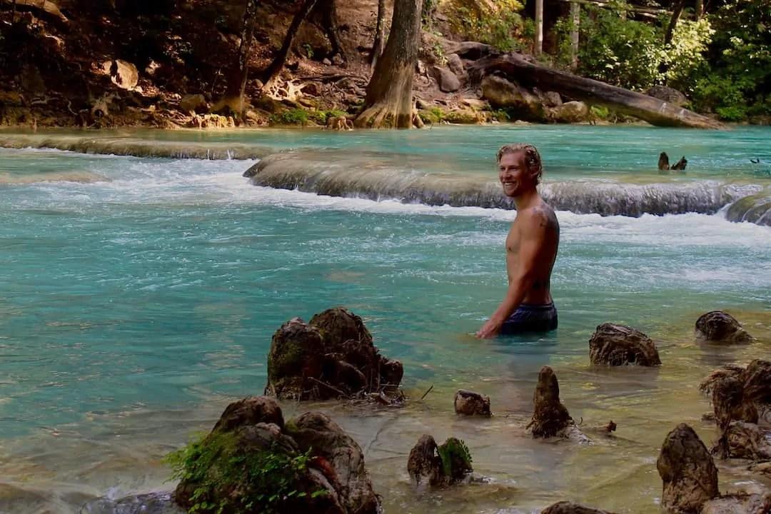 Swimming below El Chiflon. One of Chiapas' best waterfalls