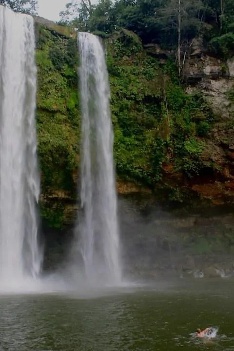Swimming at Misol Ha waterfall