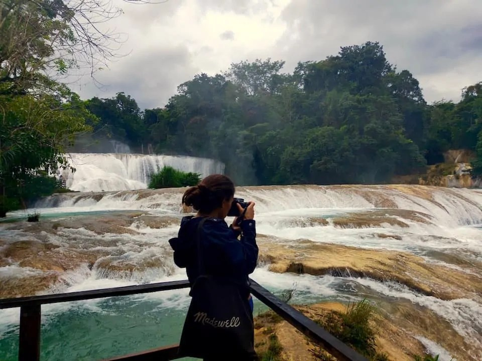 Cloudy day at Agua Azul a mighty waterfall in Chiapas