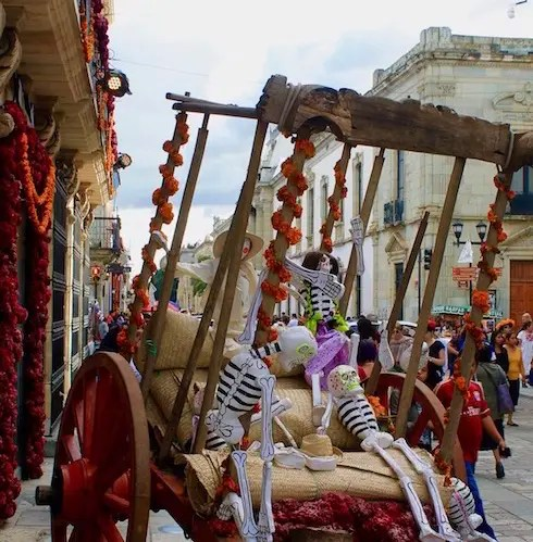 Some skeletons who forgot to book accommodation early for Day of the Dead Oaxaca