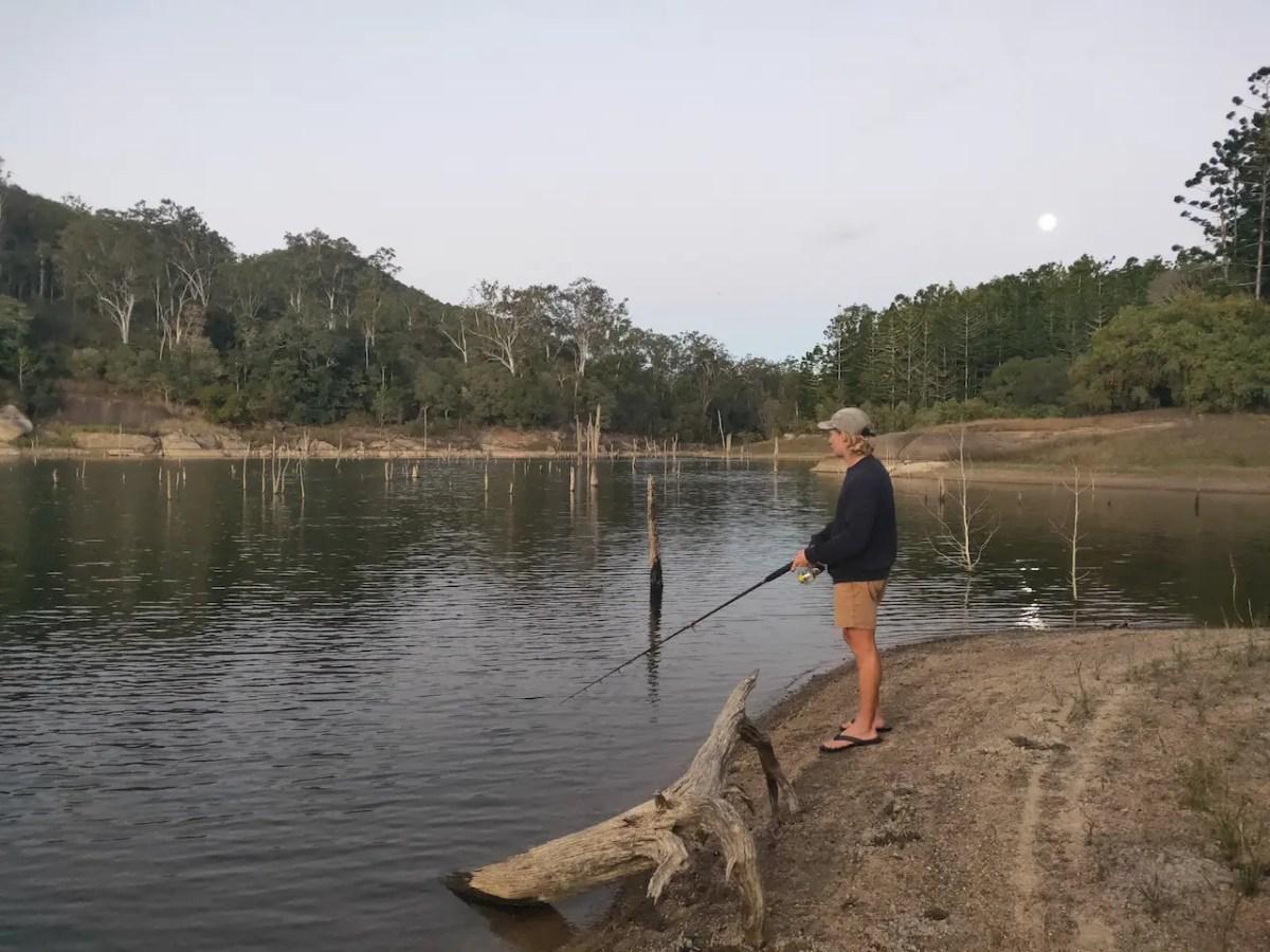 Attempting to catch barramundi at Lake Tinaroo in the Atherton Tablelands.