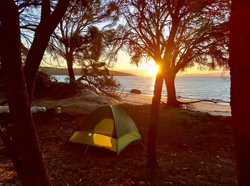 Sunset from our campsite on Cook Beach, Freycinet National Park