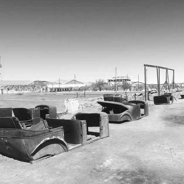 Abandoned cars at Chacabuco in the Atacama Desert