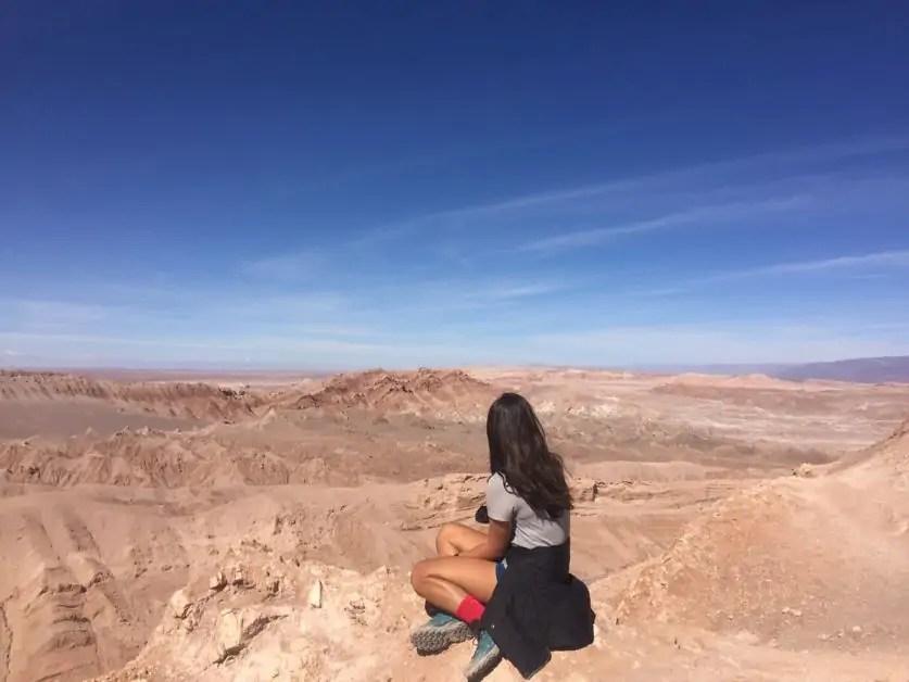 Kelli enjoying the views over the Valle de la Luna