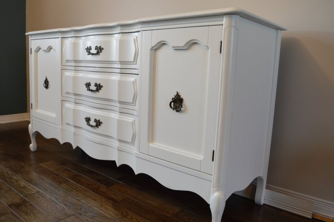 French provincial buffet makeover using Benjamin Moore simply white