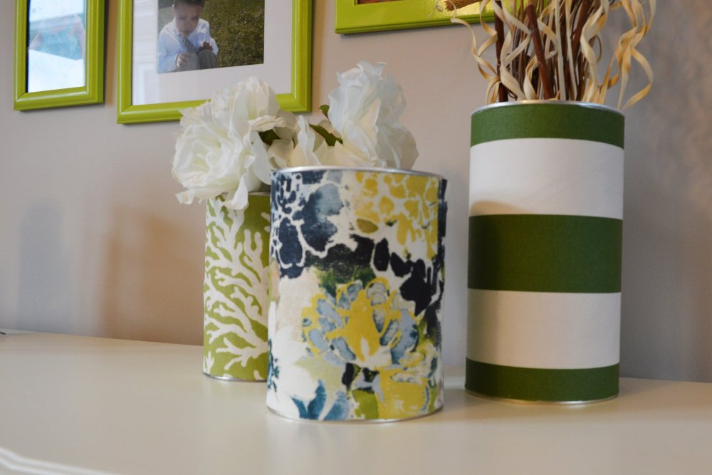 Can covered with fabric and modpodge, tin can vase