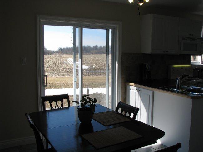 Dining room with patio door