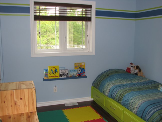 Blue and lime wall stripes using frog tape