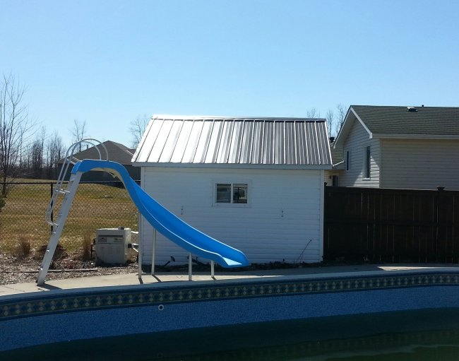 Inground pool with updated pool shed
