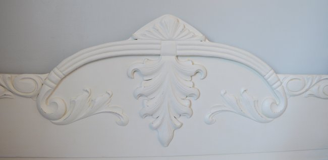 Chalk painted antique bed