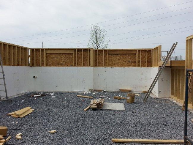 Knee wall on fox block ICF foundation. Owner builder raised bungalow