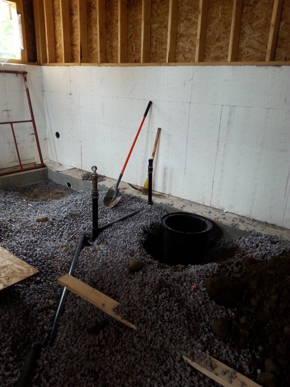 interior framing and plumbing. Owner builder raised bungalow. Sump pit
