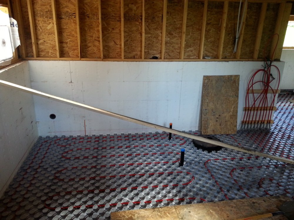 amvic system for in-floor heating in basement concrete