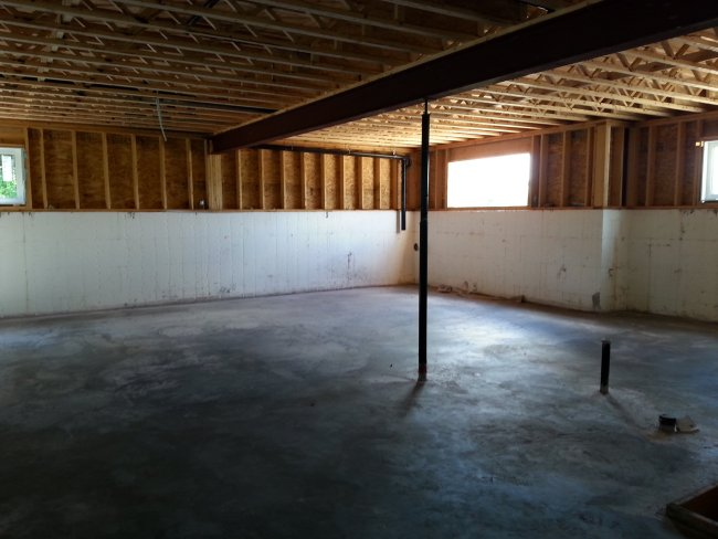 Basement concrete with amvic in-floor heat. Owner builder raised bungalow
