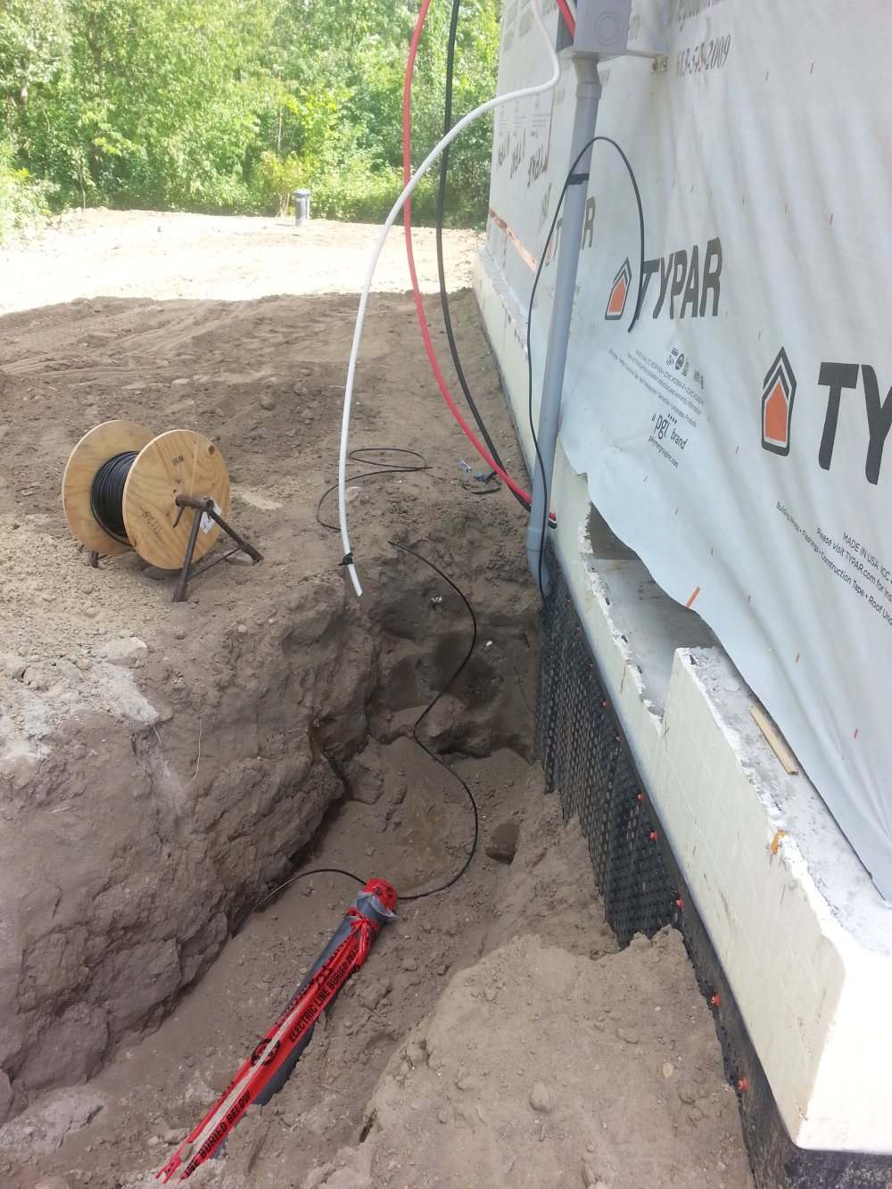 trench for electrical in a new home construction